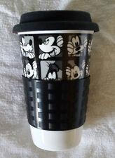 NEW Disney Mickey Mouse Goofy Black/White Ceramic Travel Coffee Mug w/Sleeve