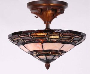 Tiffany Style Ceiling Light 100 Genuine Stained Glass EBay
