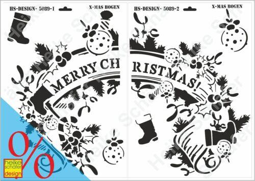 Schablone-Stencil 2xA3 303//304 Neu X-Mas Bogen Heike Schäfer Design