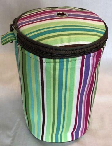 Green Yarn Holder Knitting Storage Ball of Wool Bag Pink Purple Stripes