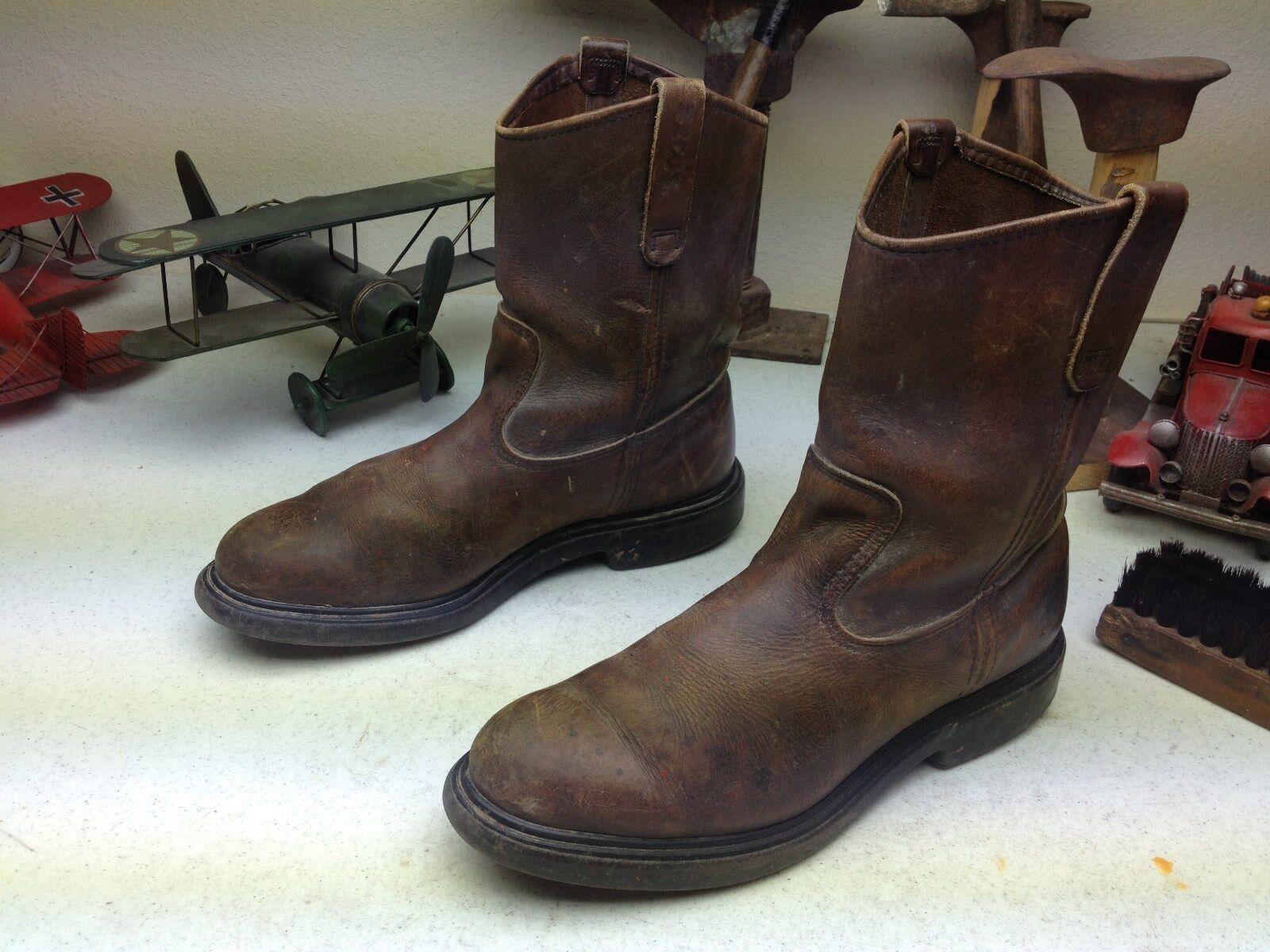 Vintage con aspecto envejecido rojo Wing Western Pecos corto Usa Marrón ingeniero jefe botas 91)