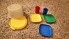 Tupperware Toys Kids Dishes - Red, Blue, Green, Yellow - Cake Dish, Cups, Plates