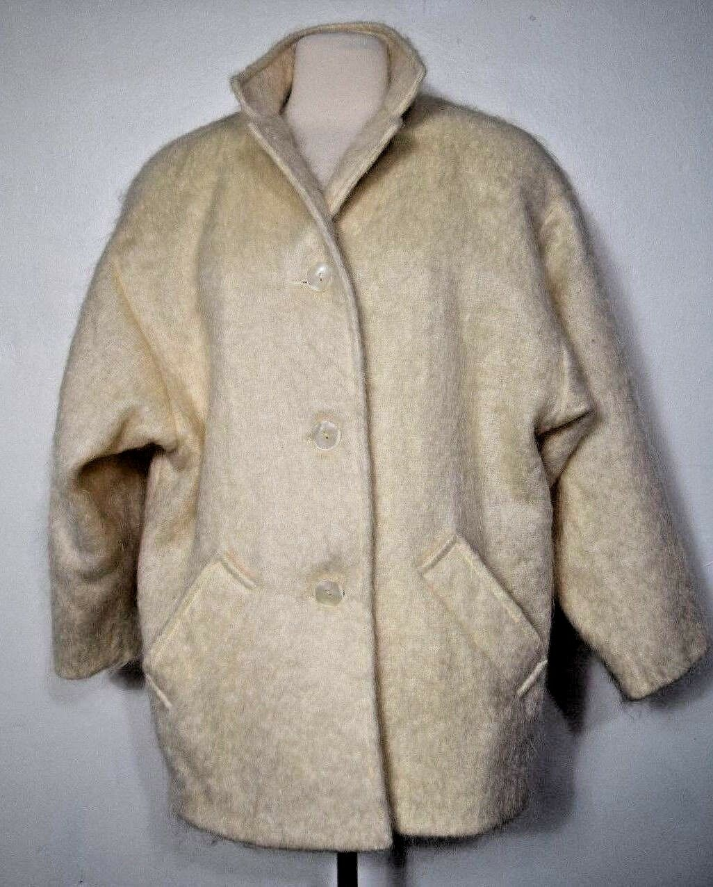 Evan Stuart Woven & Brushed Angora Coat Creamed Elegant Women's Size 10P