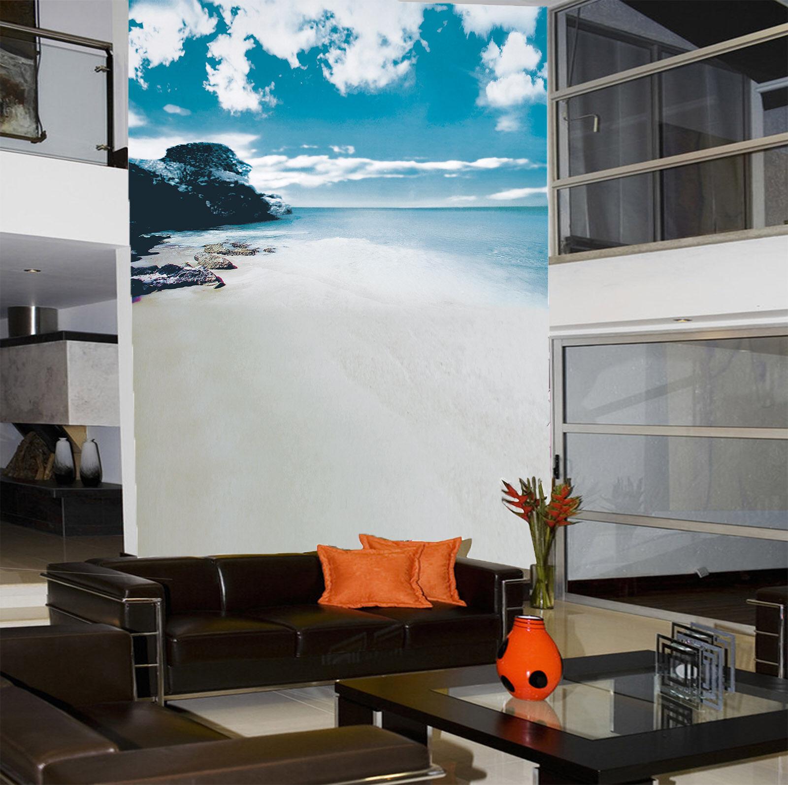 3D White Clouds Beach Sea 52 Wall Paper Wall Print Decal Wall AJ WALLPAPER CA