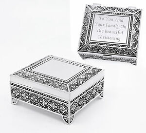 Details About Personalised Silver Plate Trinket Jewellery Box Engraved Christening Gift