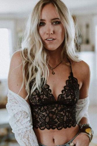 Womens Bralette Top Lace VNeck Bralet Bustier Ladies Crop Cami Tank Vest Crochet