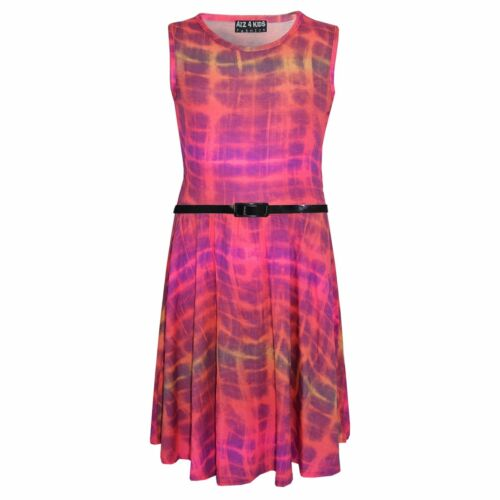 Girls Skater Dress Kids Tie /& Dye Print Summer Party Dresses New Age 7-13 Years