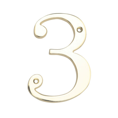 """4/"""" Traditional Solid Brass House Mailbox Address Number Hillman Group Nail On"""