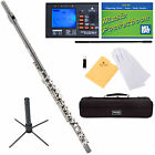 Mendini Black Nickel 16 Nickel Keys C Flute w/ Split Key +Tuner+CareKit+Case