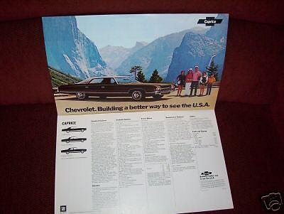 1972 CHEVROLET CAPRICE 11 x 18-Inch ORIGINAL BROCHURE 72 CHEVY POSTER