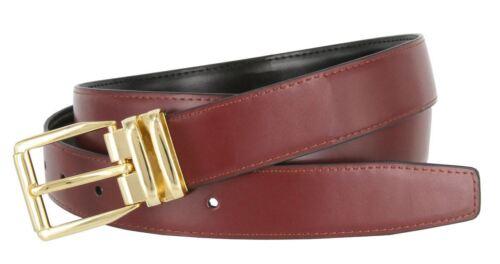 "Men/'s Genuine Leather Reversible 1-1//8/"" Wide Black Burgundy Casual Dress Belt"