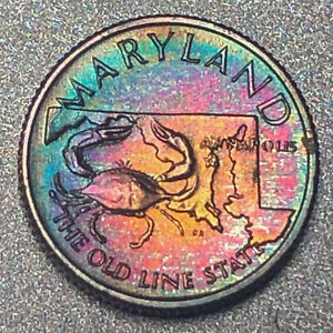 MARYLAND-Proof-Franklin-Mint-Sterling-Silver-Mini-Coin-Rainbow-Toning