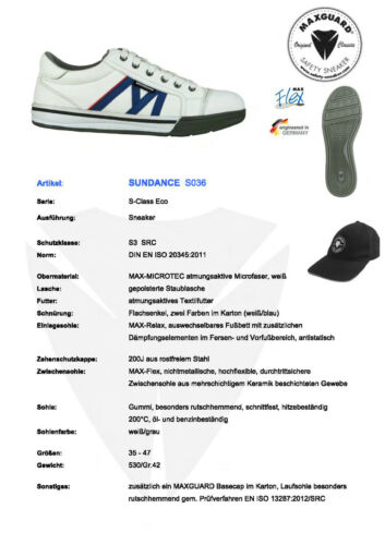 S3 Src Calzado de Seguridad Maxguard S036 Blanco Saftey- Sneaker Trabajo Nuevo