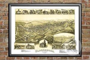 Old-Map-of-Clarksburg-WV-from-1898-Vintage-West-Virginia-Art-Historic-Decor