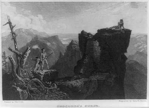 Chocorua/'s Curse,Indian Lying on mountian ledge,woodsman,long rifle,West