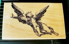 Angel Wings Rubber Stamp J21102 Wood Mounted