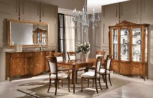 Tavoli Sala Da Pranzo In Legno : Sala da pranzo in legno noce credenza argentiera tavolo specchiera
