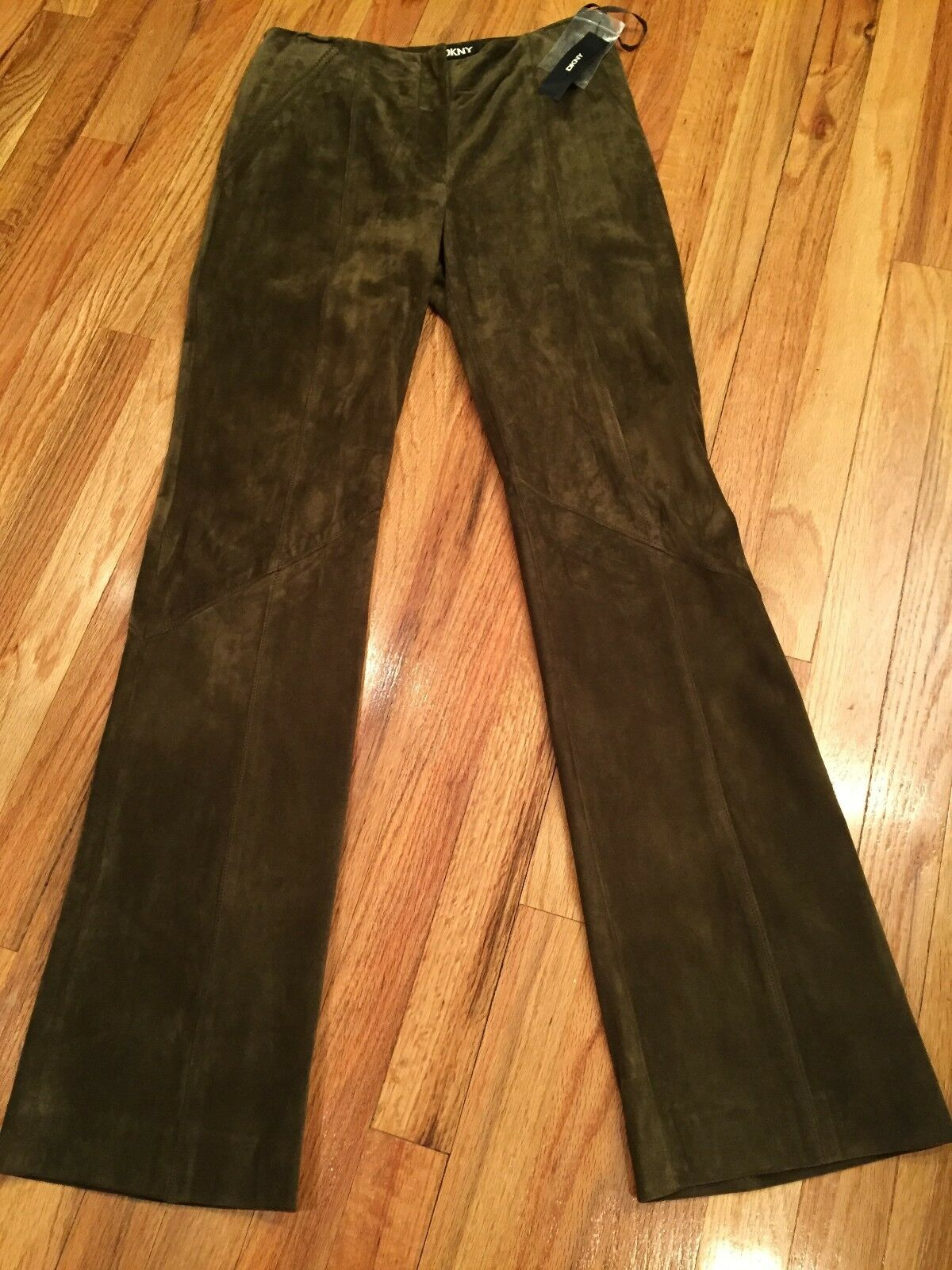 DKNY Size 6 MOSS OLIVE SUEDE LEATHER LINED Jeans Pants BOOT LEG PANTS - NEW TAGS