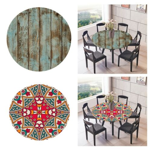 2 Pieces Round 1.2m Elastic Edged Polyester Fitted Decorative Table Cover
