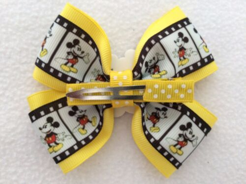 """Girls Hair Bow 4/"""" Wide Mickey Mouse Ribbon Yellow Flatback Alligator Clip"""