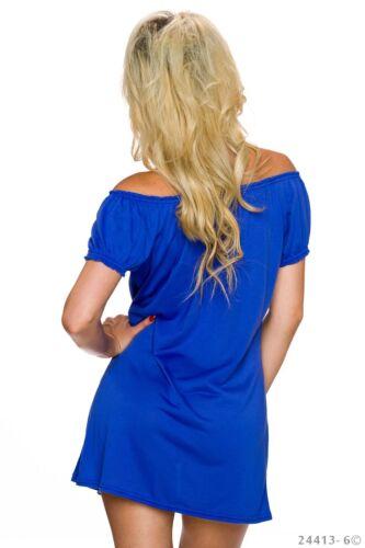 Damen Kleid Mini Top Shirt Tunika Party Bluse Sommer Strand Schulterfrei Kette