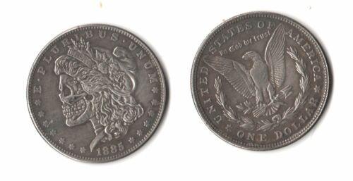 1885 Morgan Dollar W// Artistic Skull Zombie Head Fantasy Issue Novelty Coin