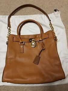 michael kors hamilton camel brown leather satchel shopper tote purse rh ebay com