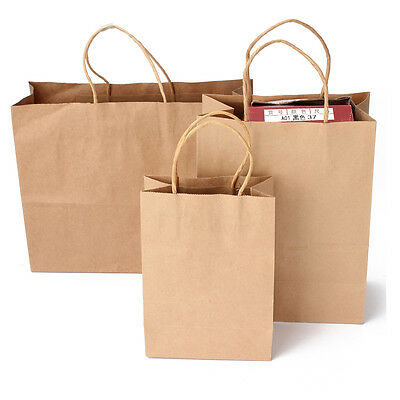 1~50PCS Bulk Kraft Paper Gift Carry Shopping Bags Retail Food Bag Party Wedding