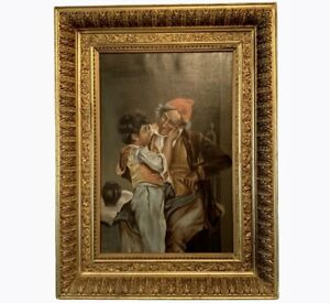 """Antique Gesso Framed Oil On Canvas Painting Boy with Elder Portrait 35""""H 26.75""""W"""