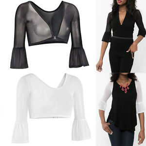 94046d7c662 Womens Sexy Both Side Wear Seamless Arm Shaper Short Crop Top Mesh ...