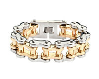 Men's Stainless Steel Thick Silver Gold Bike Chain Bracelet Usa Seller