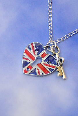 Union Jack blue heart Crystal Charm Pendant Earring