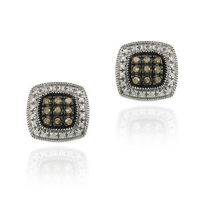925 Silver 1/5ct Champagne Diamond Square Earrings
