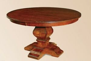 Image Is Loading Amish Rustic Round Pedestal Dining Table Distressed Solid