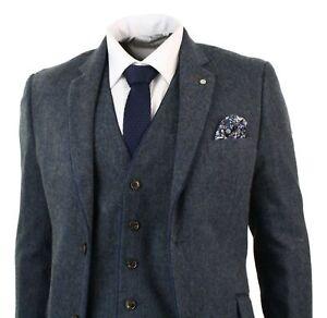 Men-039-s-Herringbone-Tweed-3-Piece-Wool-Suits-Vintage-Dark-Gray-Classic-Fit-Custom