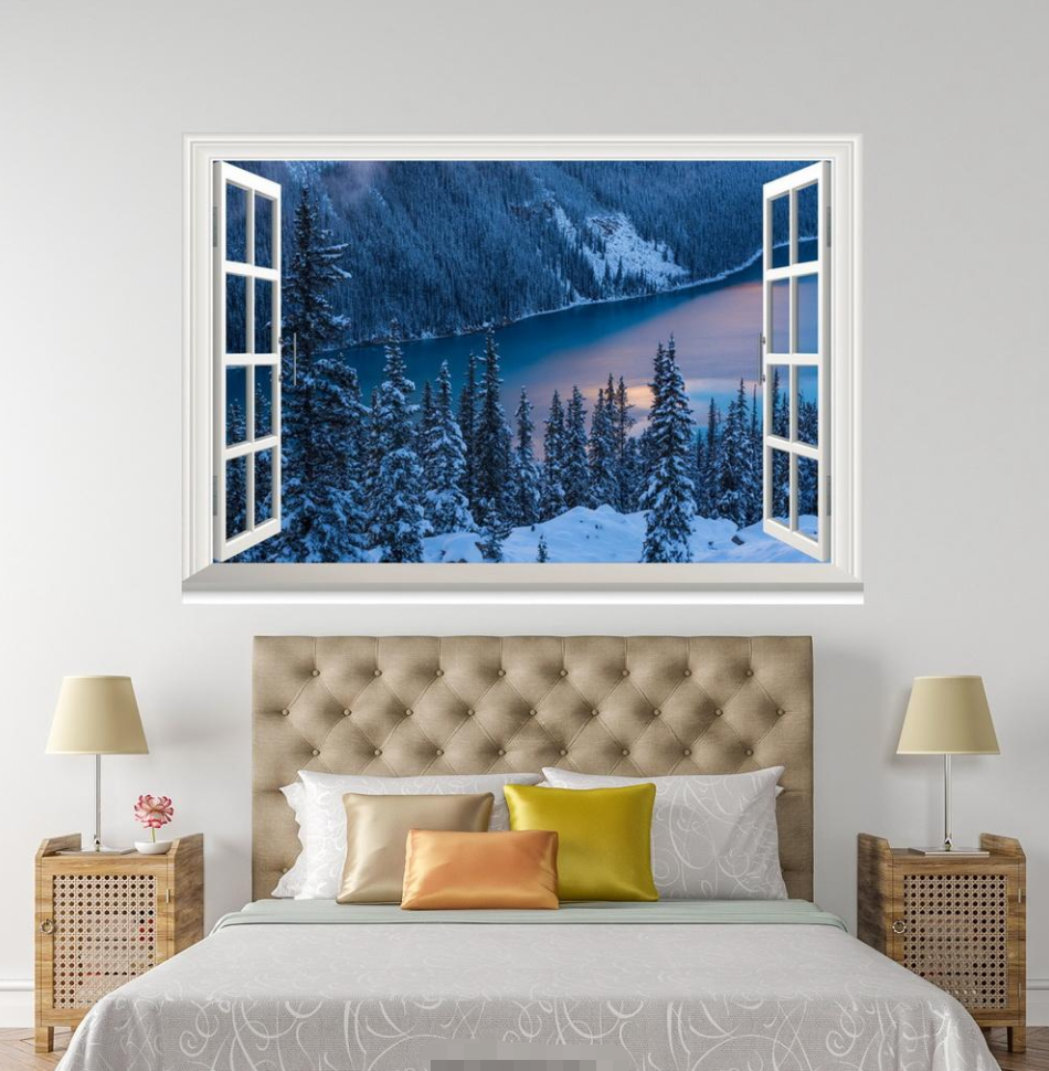 3D Night Hill Tree 118 Open Windows WallPaper Wandbilder Wall Print AJ Jenny