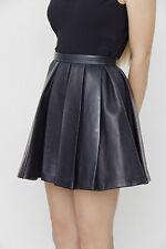 BALMAIN $4100 Dark Navy Blue Leather Pleat Peplum Zipper Mini Dress Skirt 36/4