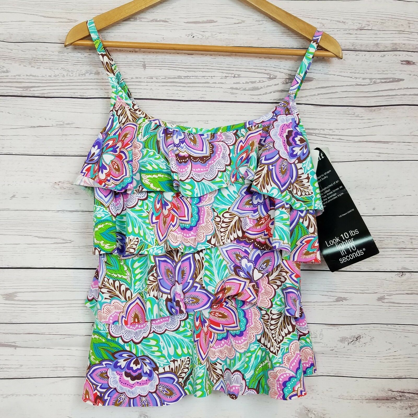 Miraclesuit Womens Tiering Up Tankini Top Size 10 Pink Multi Floral NWT  114