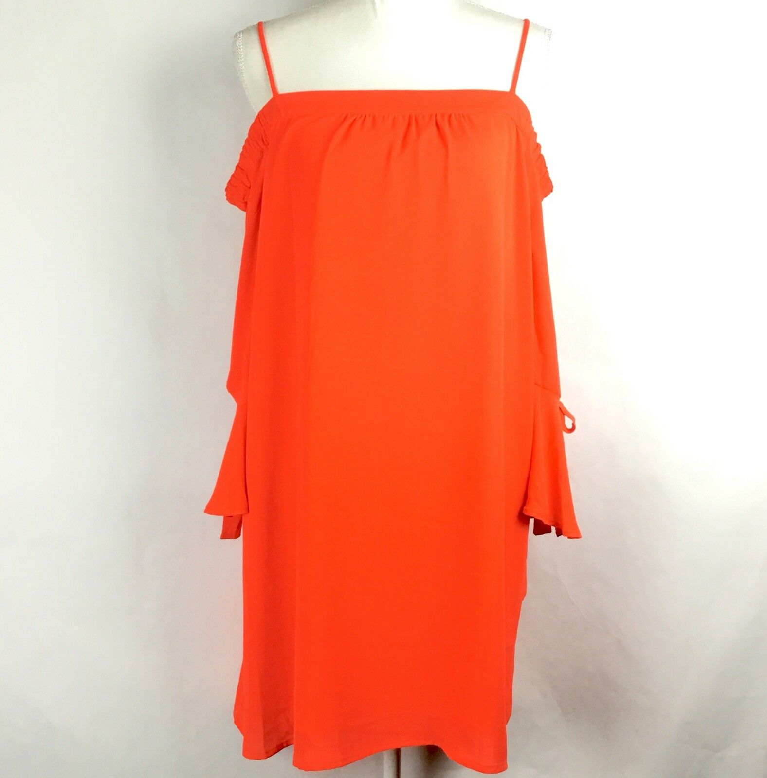 Skies Are Blau damen Dress Orange Off The Shoulder 3 4 Sleeve Ruffle Sz S NWT