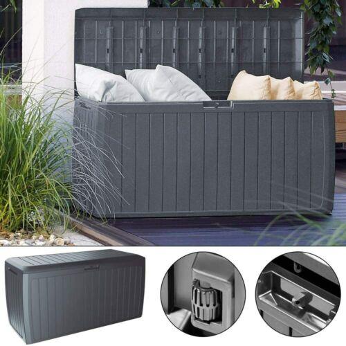 Deuba Garden Plastic Storage Box Outdoor 290L Patio Deck Chest Weatherproof Grey