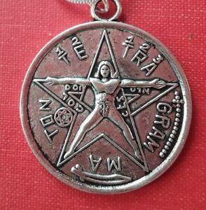 TETRAGRAMMATON-VITRUVIAN-MAN-MAGICK-OCCULT-SILVER-NECKLACE-AMULET-PROTECTION