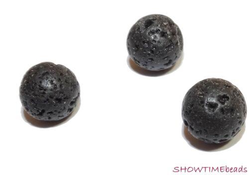 Lava perla negro 20 unidades redondo 8mm