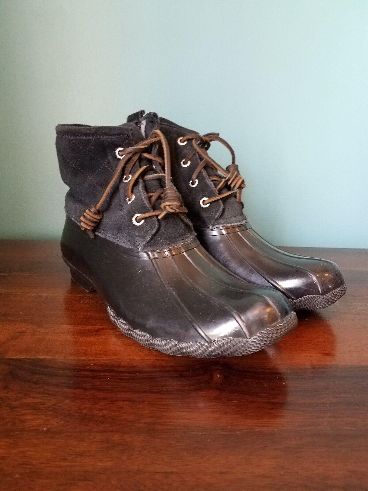 SperryTop-Sider Saltwater Black Quilted Side Zip Duck Duck Duck Boots Women's Size 9 8ac64e