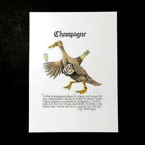 Simon Drew Funny Art Champagne Lily Bollinger Drinking Quote Print Large Signed