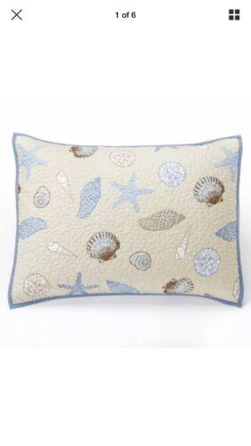 HOME CLASSICS Sarah SEASHELL Standard Reversible Bed SHAM Nautical Ocean Pillow