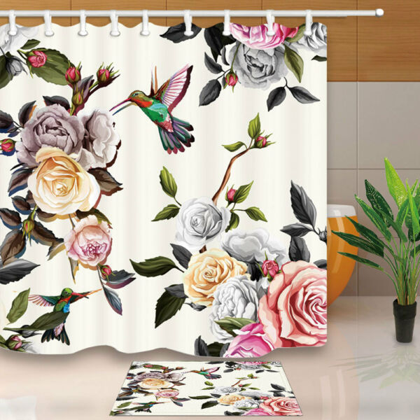 Hummingbird And Peony Waterproof Bathroom Accessories Fabric Shower Curtains  71u0027. Hover To Zoom
