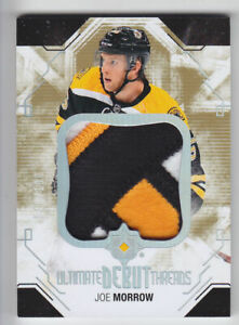 2014-15-UD-ULTIMATE-JOE-MORROW-RC-PATCH-100-DEBUT-THREADS-4-CLR-ROOKIE-Bruins