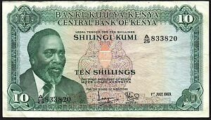 1969-KENYA-10-SHILLINGS-BANKNOTE-A-25-833820-aVF-P-7a