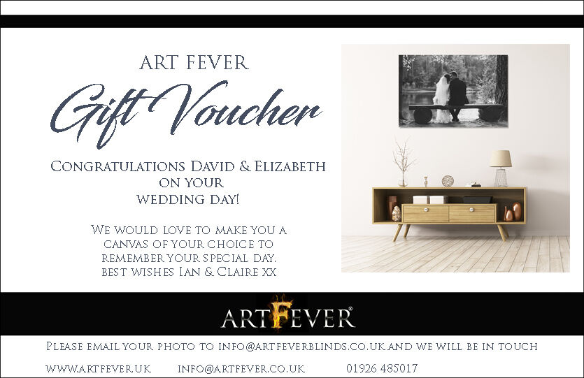 WEDDING GIFT VOUCHER FOR READY TO HANG CANVAS PRINT WEDDING PHOTO ON CANVAS