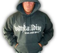 Bodybuilding Clothing Hoodie Workout Top Charcoal Iron & Pain Logo G-60